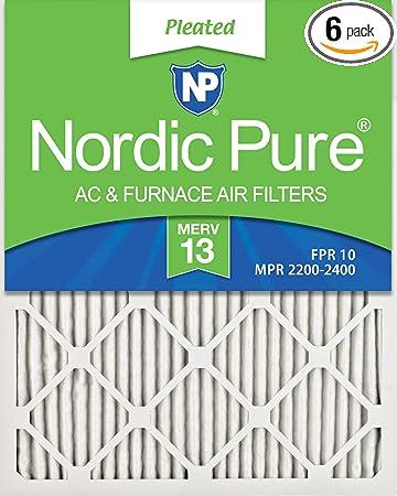 Nordic Pure 16x25x1 MERV 13 Tru Mini Pleat AC Furnace Air Filters 3 Pack