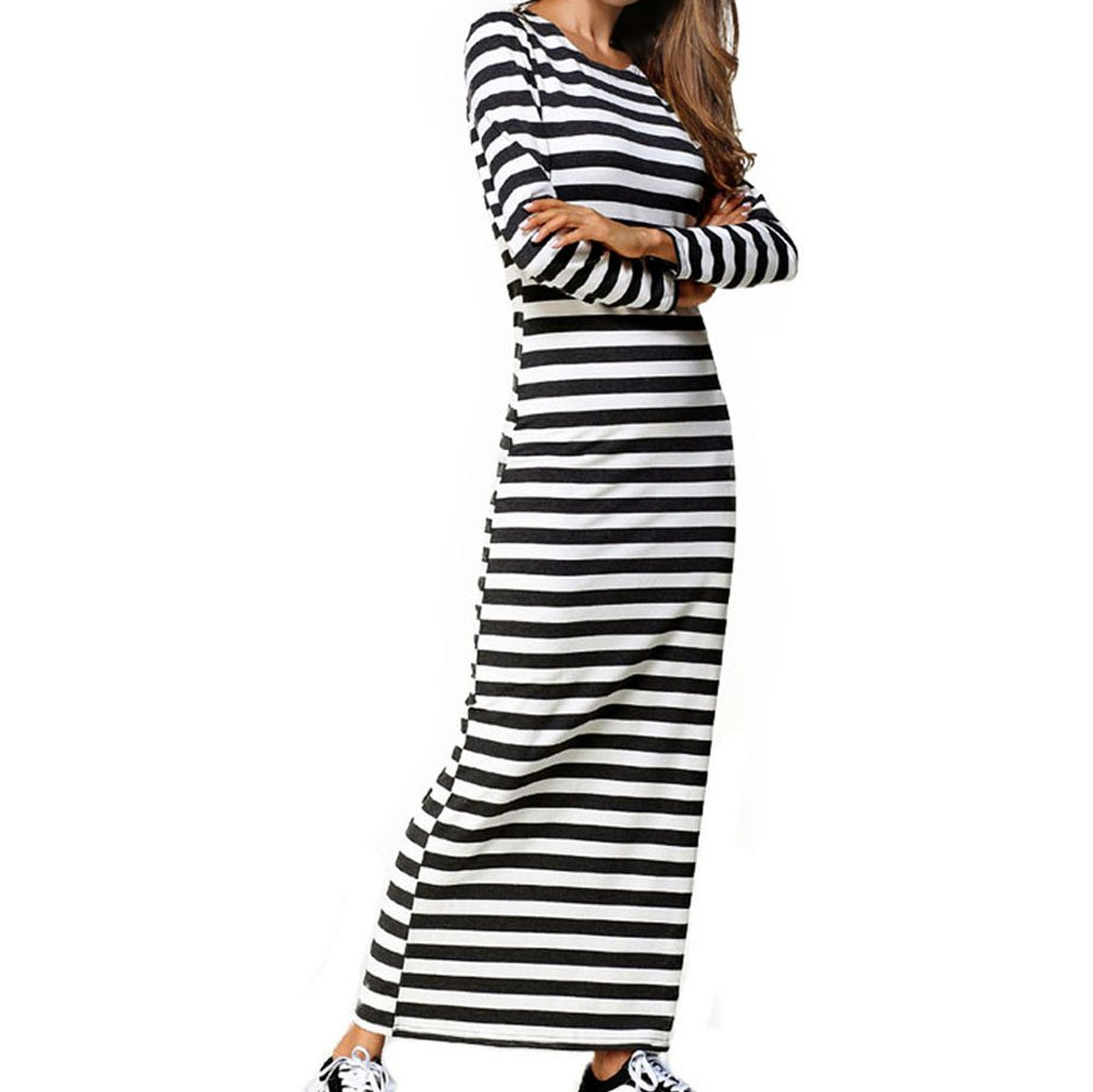 Womens Dresses Liraly Classic Clubwear Party Long Sleeve Striped Casual Ankle-Length Sheath Dress(White,US-10 /CN-XL)