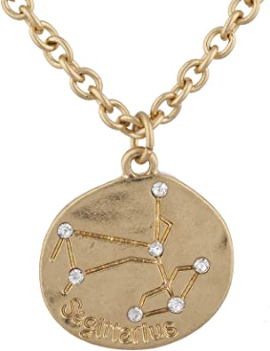 Bolsa De Regalo Gratis Chapado en Oro Sagitario Constelación Zodiaco Astrología Collar