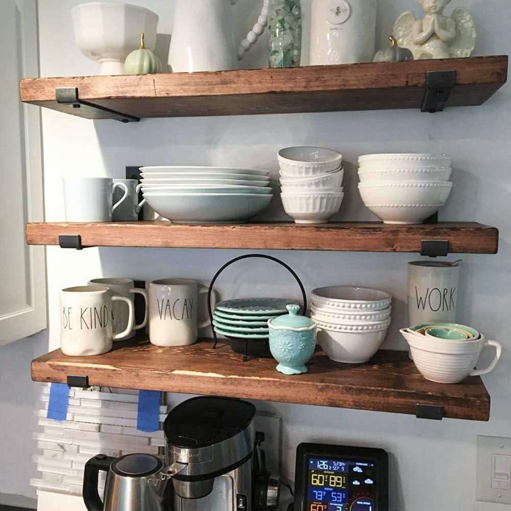 2 soportes y soportes para estantes de pared dormitorio cocina Soportes de estante negro para decoraci/ón del hogar para sala de estar oficina ba/ño
