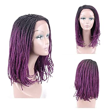 Hair Way Box Braided Wigs Bob Style Lace Front Wig For Black Women Black To Purple Glueless Medium Length Bob Braided Lace Wig With Baby Hair For