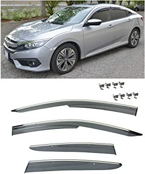 Logo Chrome Trim Window Visor Guard Vent Deflector For HONDA CIVIC HATCHBACK 17