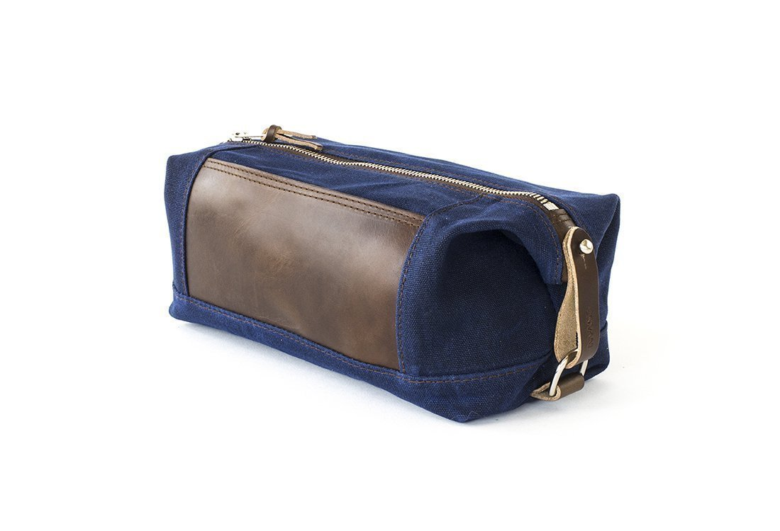 Waxed Canvas Dopp Kit: Expandable, Water-Resistant, Hanging Toiletry Bag, Travel, Navy Blue - No. 321 (Made in the USA)