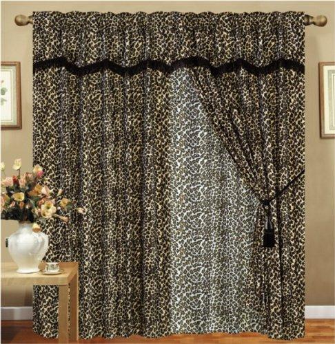 - KingLinen Leopard Animal Curtain Set w/Valance/Sheer/Tassels
