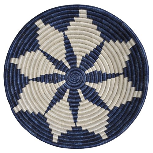All Across Africa Handwoven 12-inch Hope Basket, Blue Night and Ivory