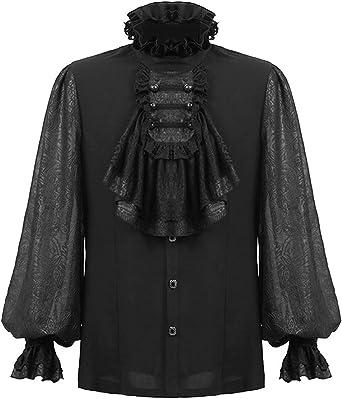 Punk Rave Camisa para hombre de color negro gótico Steampunk Boda Regency Aristocrat VTG