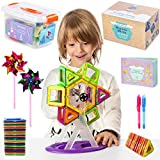 Magnetic Blocks Building Tiles Set For Kids | Educational Toys for Boys & Girls | Magnetic Shapes Set: 102 BPA Free ABS Blocks, in Storage Box, 2 Party Pinwheels, 2 Invisible Ink Pens & Hard Copy Inst