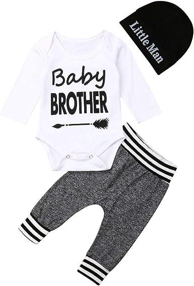 Gorro Conjunto de 3 Piezas de Ropa de Manga Larga para beb/é reci/én Nacido Pantalones de Camuflaje