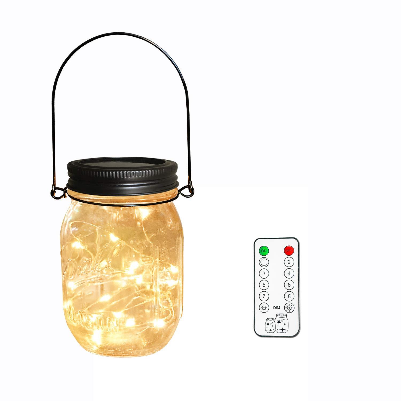 Solar Mason Jar Lights,Remote Control 8 Lighting Modes 20 LEDs waterproof Fairy Firefly String Lights for Mason Jar, Best Patio Yard Party Wedding Decor Lanterns (1-Pack Remote Control (Black Cap)) by Aubasic