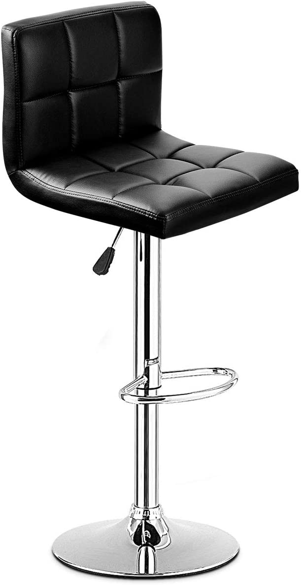 COSTWAY Bar Stool, Modern Swivel Armless Adjustable Barstools, Square Counter Height PU Leather Bar Stools for Kitchen Dining Living Bistro Pub Chair Counter Back Barstool Black, 1 Stool
