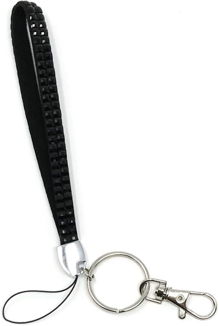 Key Chain Keep Keys Safe and Easy to Find Fits on Wrist Sturdy Key Fob Trendy Gift Black Glitter Key Fob Wristlet Sparkly Black