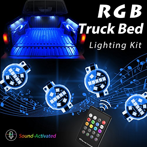 LED 8pc RGB Truck Bed Lighting Kit, Megulla Multi-Color Super Bright Work Light -Sound Activated Music, IP67 Waterproof, Wireless RF Remote, On/Off Switch- for Trucks, Pickups, Trailers and Boats ()