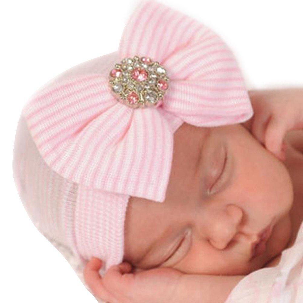 iiniim Newborn Baby Girls Cotton Nursery Beanie Hospital Hat Cap with Big Bow