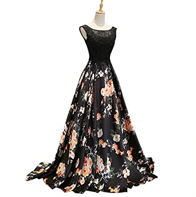 Harsuccting Scoop Neck Lace Appliques Long Printed Floral Satin Prom Dresses Black 2