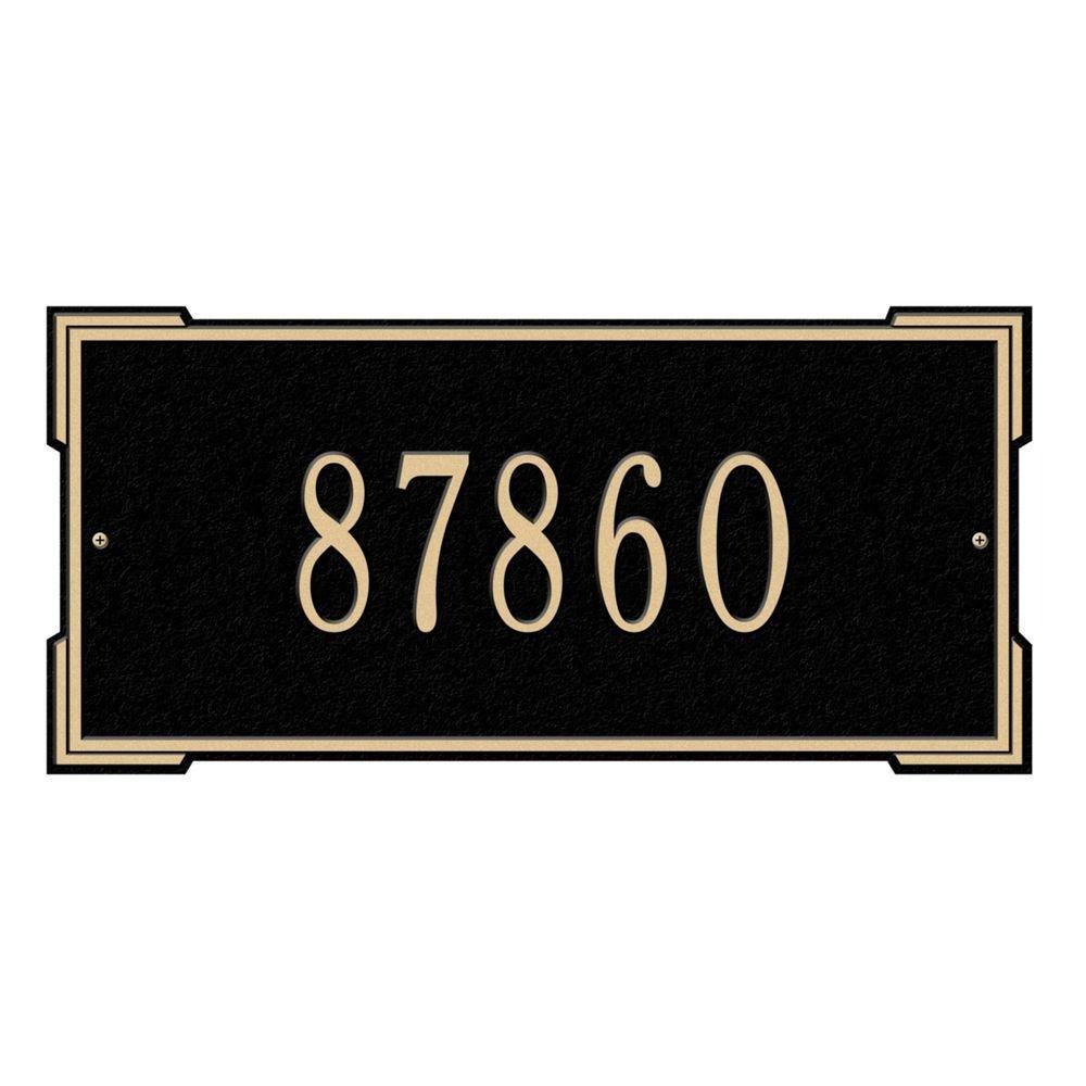 長方形Roanoke標準壁単線アドレスPlaque – ブラック/シルバー B00KYZ0SNK