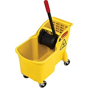 Rubbermaid Commercial Tandem Bucket and Wringer Combo, 31-Quart Capacity, 22.63-Inch Length x 13.25-Inch Width x 32.25-Inch Height, Yellow (FG738000YEL)