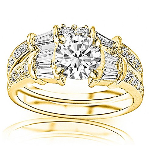 Band Brilliant Round Diamond Baguette (2.36 Carat 14K Yellow Gold Baguette Round GIA Certified Round Cut Diamond Engagement Ring Wedding Bridal Band Set (1.61 Ct H Color SI2 Clarity Center Stone))