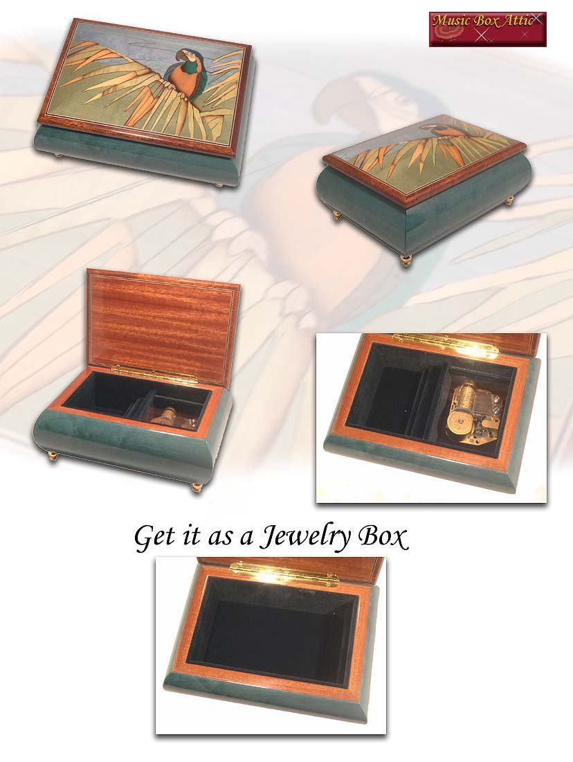 Tropical Parrot on a Palm Leaf Wood Inlay Musical Jewelry Box - Talk to the Animals