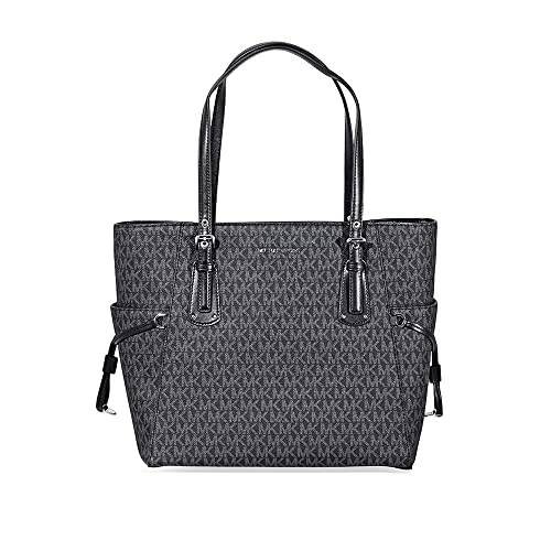 7cb321e9788b Amazon.com  MICHAEL Michael Kors Voyager East West Signature Tote (Signature  Black)  Shoes
