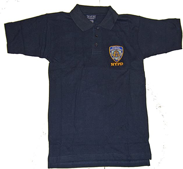 e8a79eed Amazon.com: NYPD Polo Shirt - with Official Badge - Size: Adult Small -  Color: Navy: Clothing