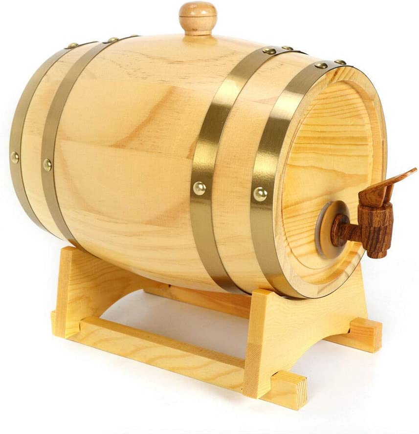 Wood Wine Barrel, 1.5L/3L/5L/10L Wooden Wine Wishkey Barrels Storage Kit with Faucet + Barrel Rack for Storing Whiskey, Beer, Tequila, Rum, Bourbon, Wine (5L)