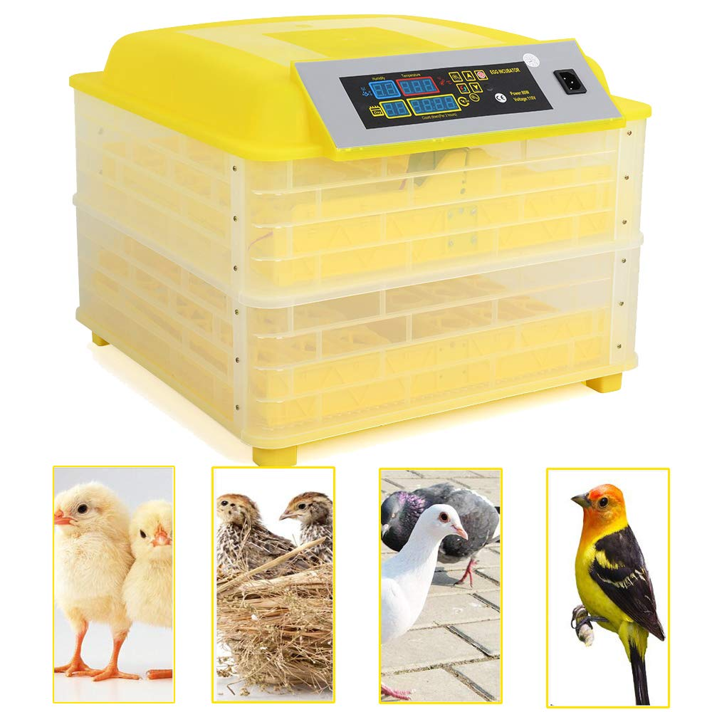 96 Egg Incubator Digital Chicken Duck Parrot Egg Hatcher Automatic Turning W/LED Temperature Display Panel CE Certified (96- Egg Incubator)