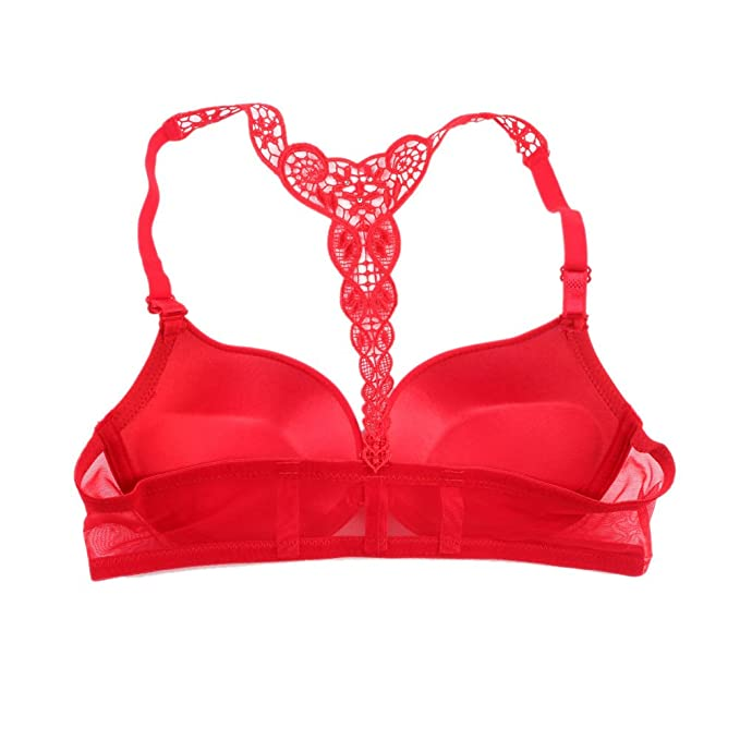 bee937b804 Brightup Women s Smooth Front Closure Thin Padded Racer Back Lace Push Up  Bra  Amazon.co.uk  Clothing