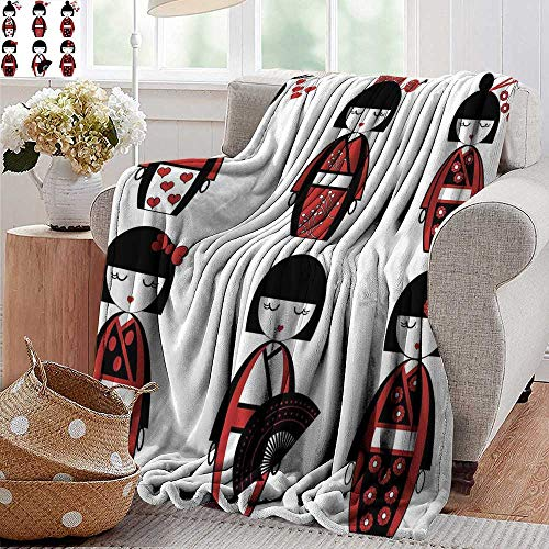 PearlRolan Velvet Touch Ultra Plush,Girls,Unique Asian Geisha Dolls in Folkloric Costumes Outfits Hair Sticks Kimono Art Image,Black Red,300GSM,Super Soft and Warm,Durable Throw Blanket 50