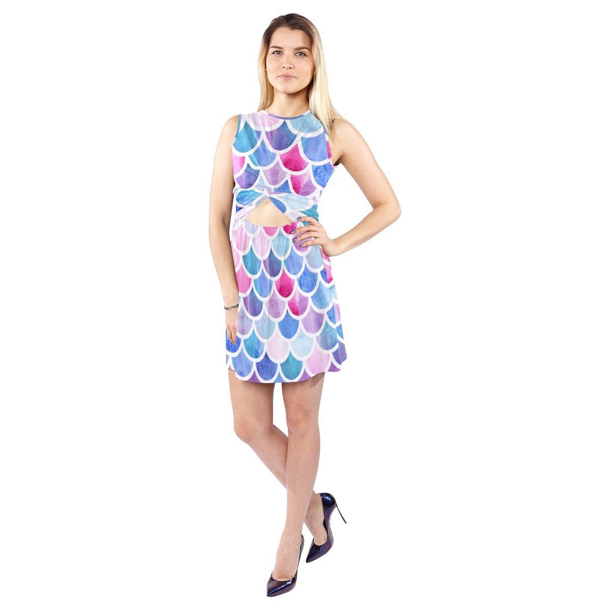 InterestPrint Women Sleeveless Knot Waist Dew Belly Dress