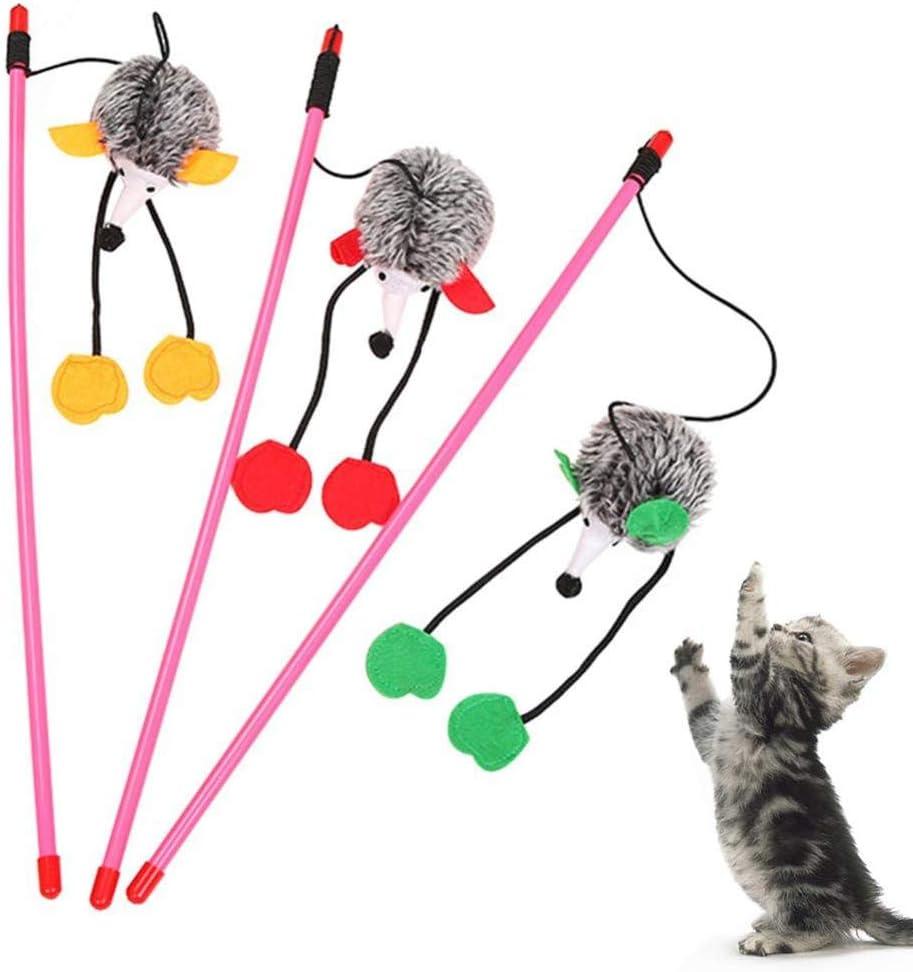 WUXXX Juguete Flexible para Gatos con caña de Pescar, Gracioso ...