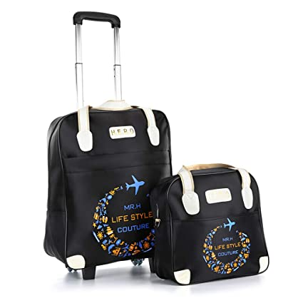 3c1e5c99eff0 Amazon.com: Minmin-lgx 2 Piece Rolling Wheeled Tote Suitcase Carry ...