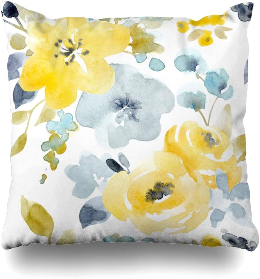 "Ahawoso Decorative Throw Pillow Cover Botanical Gray Floral Watercolor Bright Pattern Yellow Autumn Blue Abstract Nature Red Spring Nice Zippered Design 18""x18"" Square Home Decor Cushion Pillowcase"