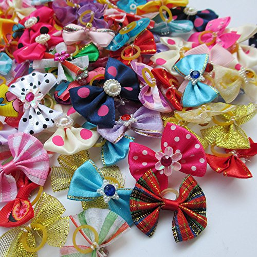 Amazon.com   Chenkou Craft Random of 20pcs New Dog Hair Bow with Rubber Band  Rhinestone Pet Grooming Products Mix Colors Varies Patterns Pet Hair Bows  Dog ... fd19ba89f14