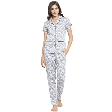 a55c4ed276 Claura Printed White and Grey Women Cotton Night Suit Or Top   Pyjama Set  -Medium