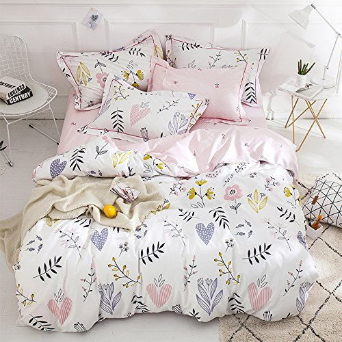 HIGHBUY Floral Print Girls Duvet Cover Set Twin White Pink Premium Cotton Colorful Flower Bedding Sets Twin for Teens Kids Reversible Comforter Cover Soft Branches Bedding Collection Twin Pink