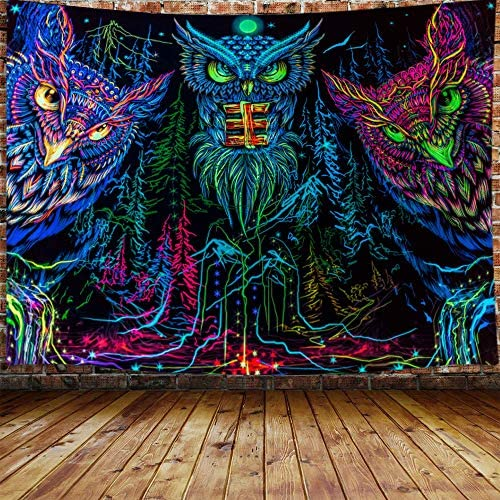 JAWO Psychedelic Owl Tapestry, Trippy Forest Line Art Tapestry Wall Hanging for Bedroom, Moon Animal Bird Blacklight Tapestry Home Decor 90 W X 70 H