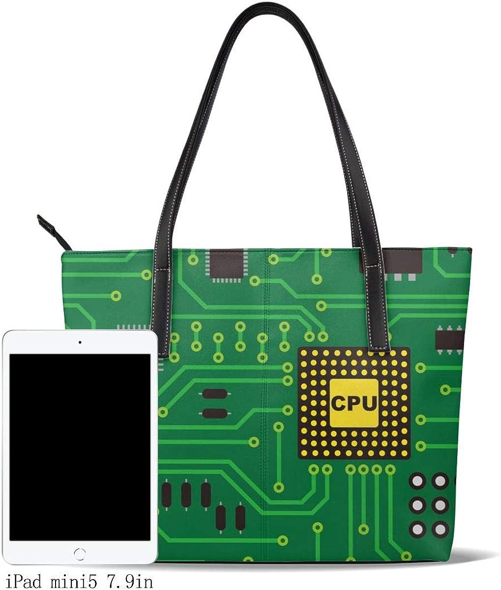 Nerd Circuit Board Cpu Handbags For Women Fashion Ladies PU Leather Top Handle Satchel Shoulder Tote Bags-Large Capacity