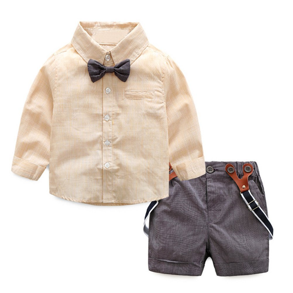 ZIYOYOR 2Pcs Baby Boys Bow Tie Shirt Suspenders Shorts Sets Gentleman Wedding Outfit