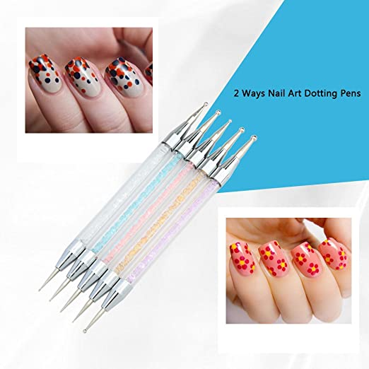 Amazon Anself 5pcs 2 Ways Nail Art Design Painting Dotting Pens