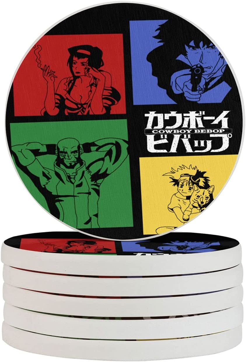 Cowboy Bebop Animes Funny Coasters, Multi-Purpose Diatomite Coasters, Protect Furniture from Water Marks Scratch and Damage(1pcs-6pcs)