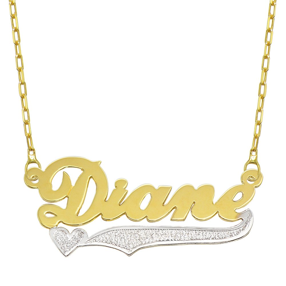14K Two Tone Gold Personalized Name Plate Necklace - Style 9 (18 Inches, Oval Rolo Chain) by Pyramid Jewelry
