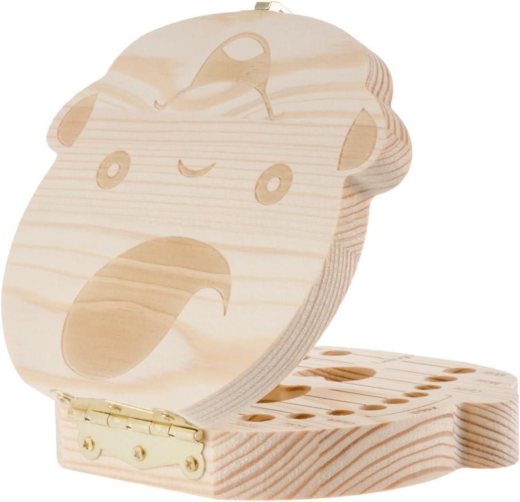 Espa/ñol Leisial Caja de Almacenamiento de Dientes de Leche Souvenir Caja Guardar Madera Diente Organizador de la Caja para Ni/ños Ni/ñas Beb/é 1pc