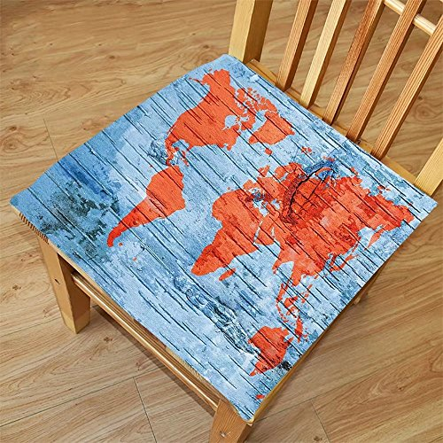 Nalahome Set of 2 Waterproof Cozy Seat Protector Cushion Holiday Decor Voyager World Map on a Wooden Seem Print Lands and Oceans Art Print Orange and Blue Printing Size - Ocean Land Sunglasses And