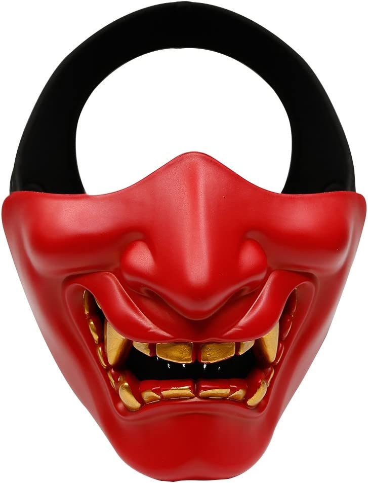Devil Smile - Máscara de media cara, con diseño de Prajna, ideal para Halloween, airsoft, paintball, cosplay y como atrezzo de película