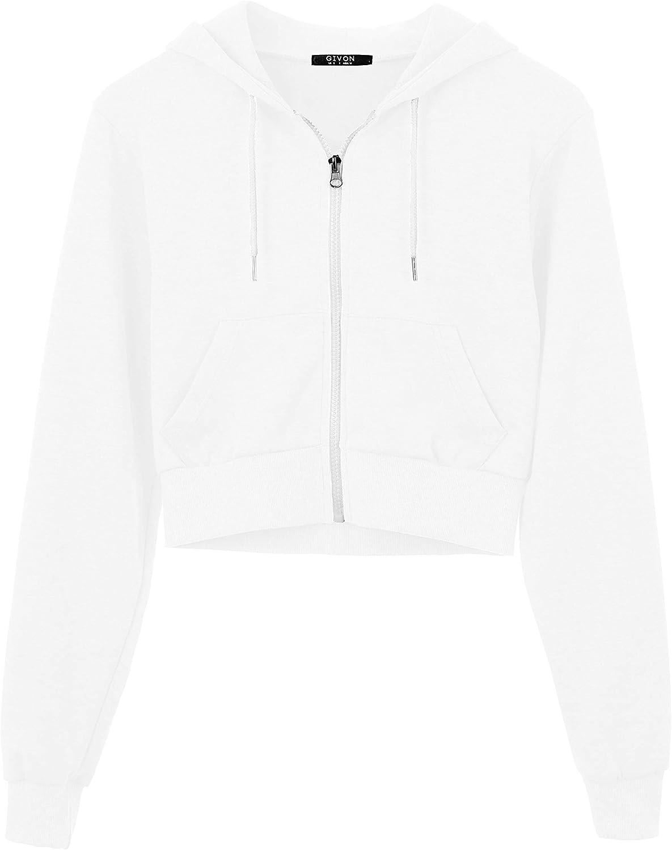 GIVON Womens Classic Fit Long Sleeve Casual Crop-Top Pullover Sweatshirt Hoodie