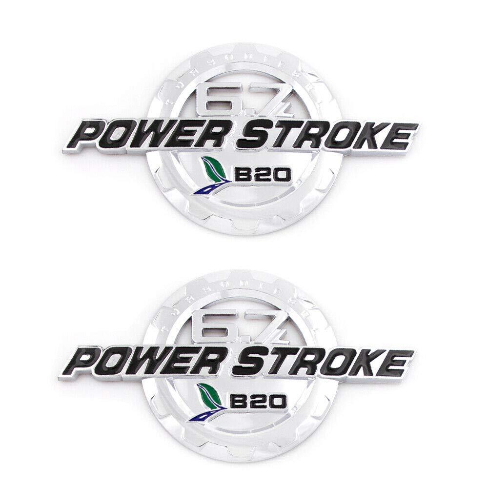 PAIR SET POWER STROKE F250 F350 SUPER DUTY DOOR EMBLEMS 3D BADGES 6.7L B20 NAMEPLATE LETTER CHROME