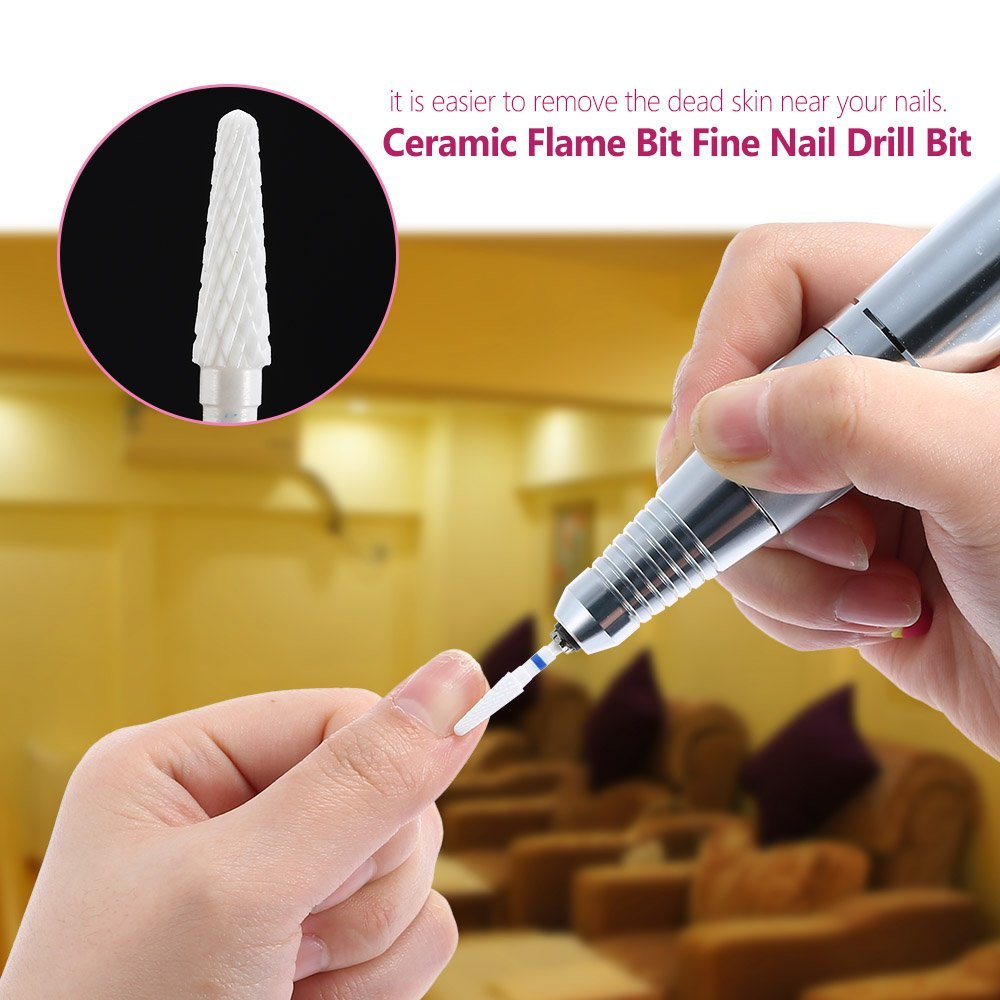 Amazon.com: Docooler® White Ceramic Nail File Flame Bit Ceramic Nail ...
