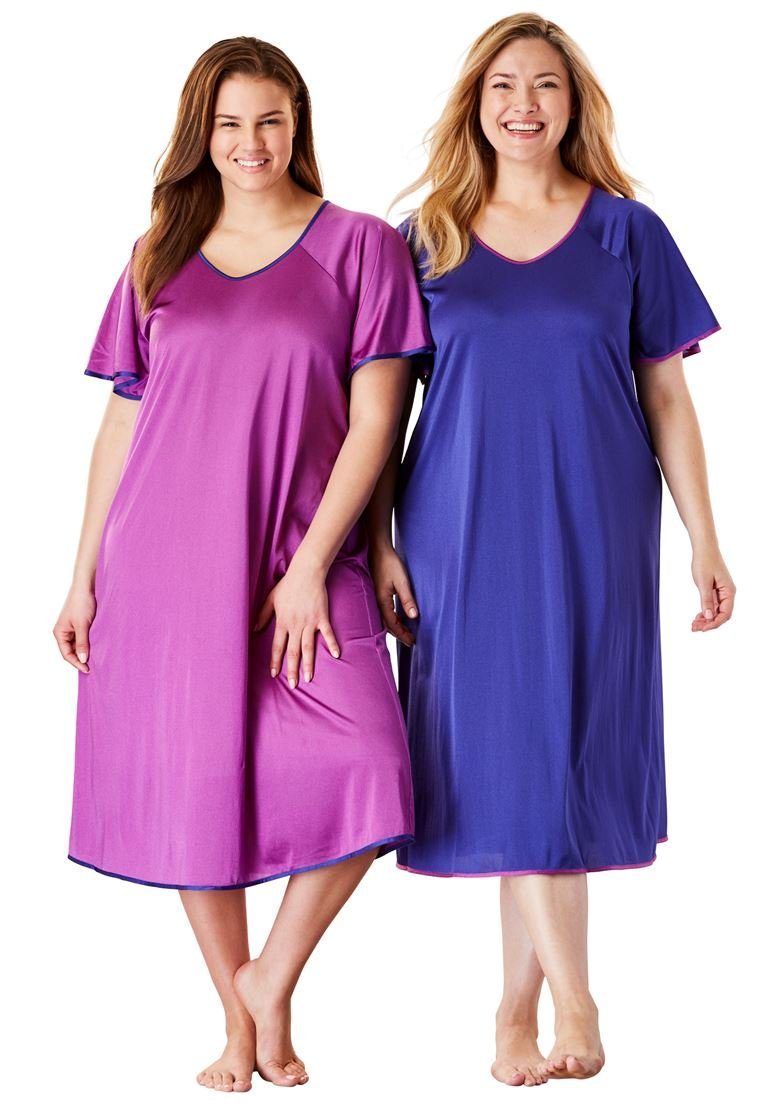 Only Necessities Women's Plus Size Short Tricot Knit 2-Pack Nightgown Blue