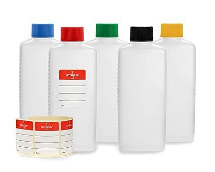 5 botellas de plástico de Octopus de 250 ml, botellas de plástico de HDPE con