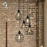 Unitary Brand Rustic Barn Metal Chandelier Max 200w with 5 Lights Black Finish